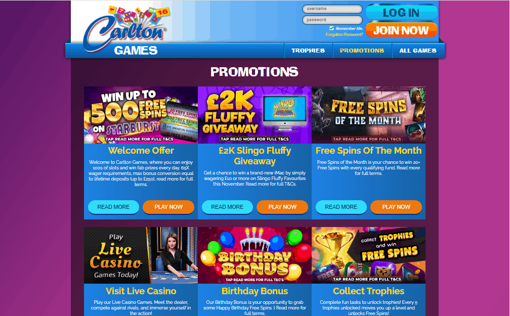 Carlton Games promotions