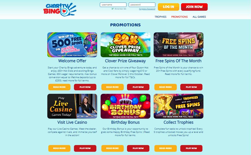 Charity Bingo promotions