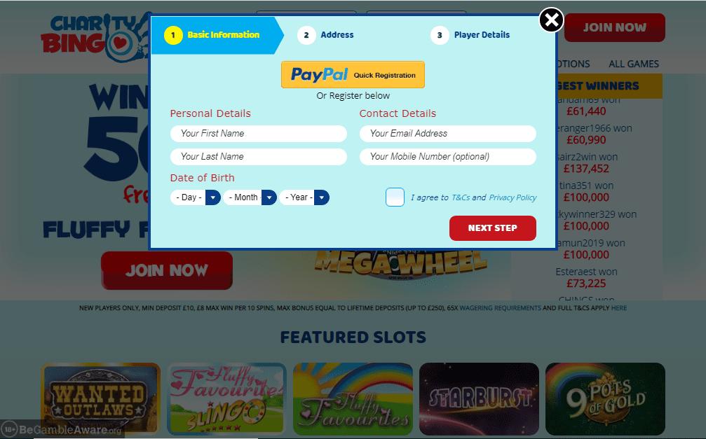 Charity Bingo signup
