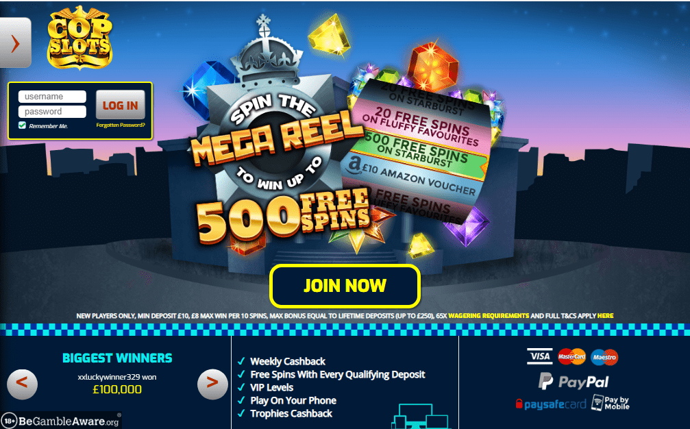 Cop Slots home page