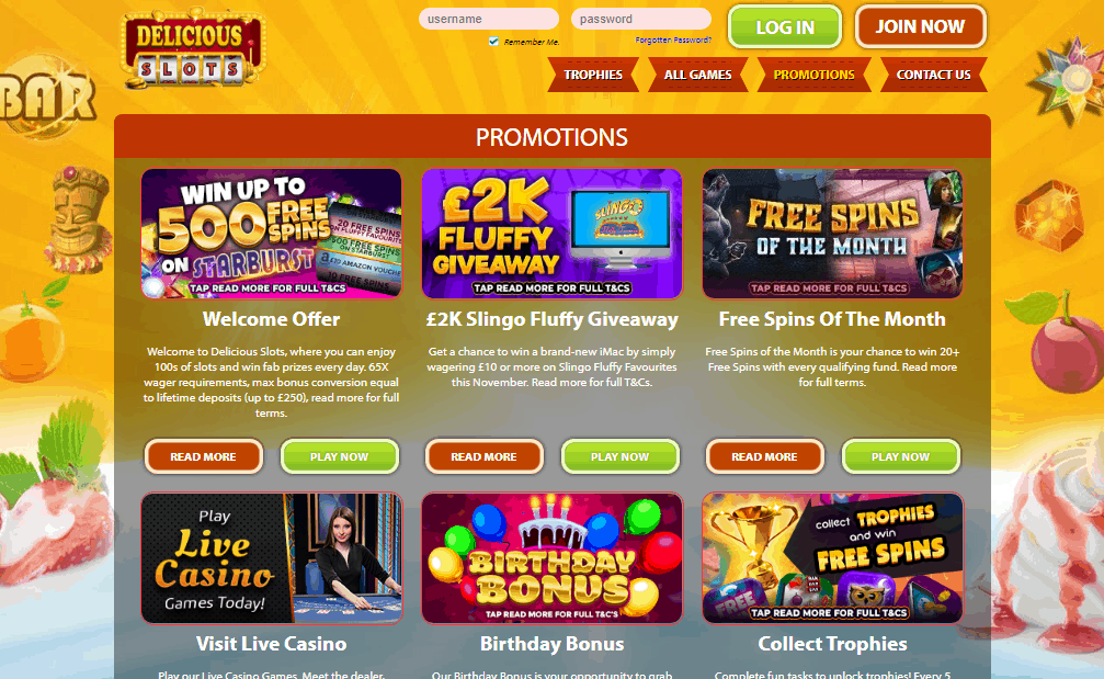 Delicious Slots promotions