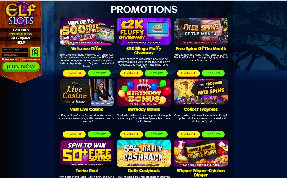 Elf Slots promotions