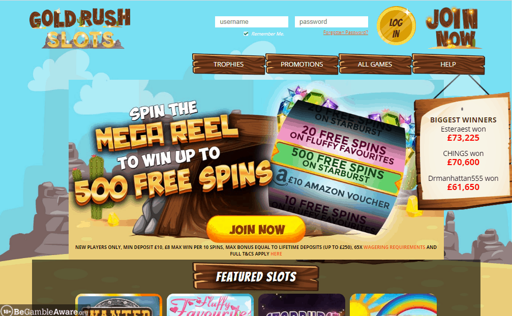 Gold Rush Slots home page