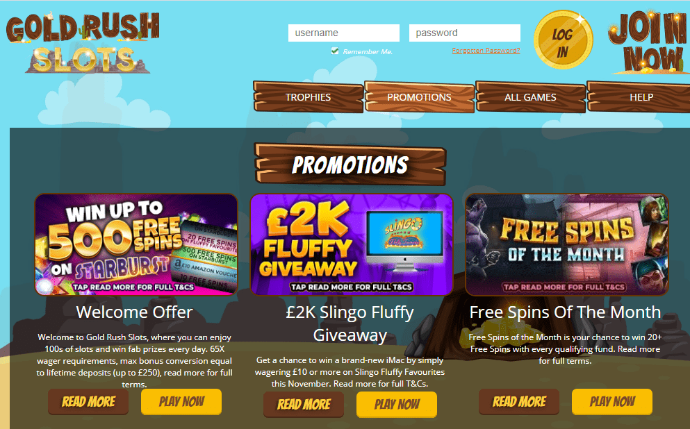 Gold Rush Slots promotions