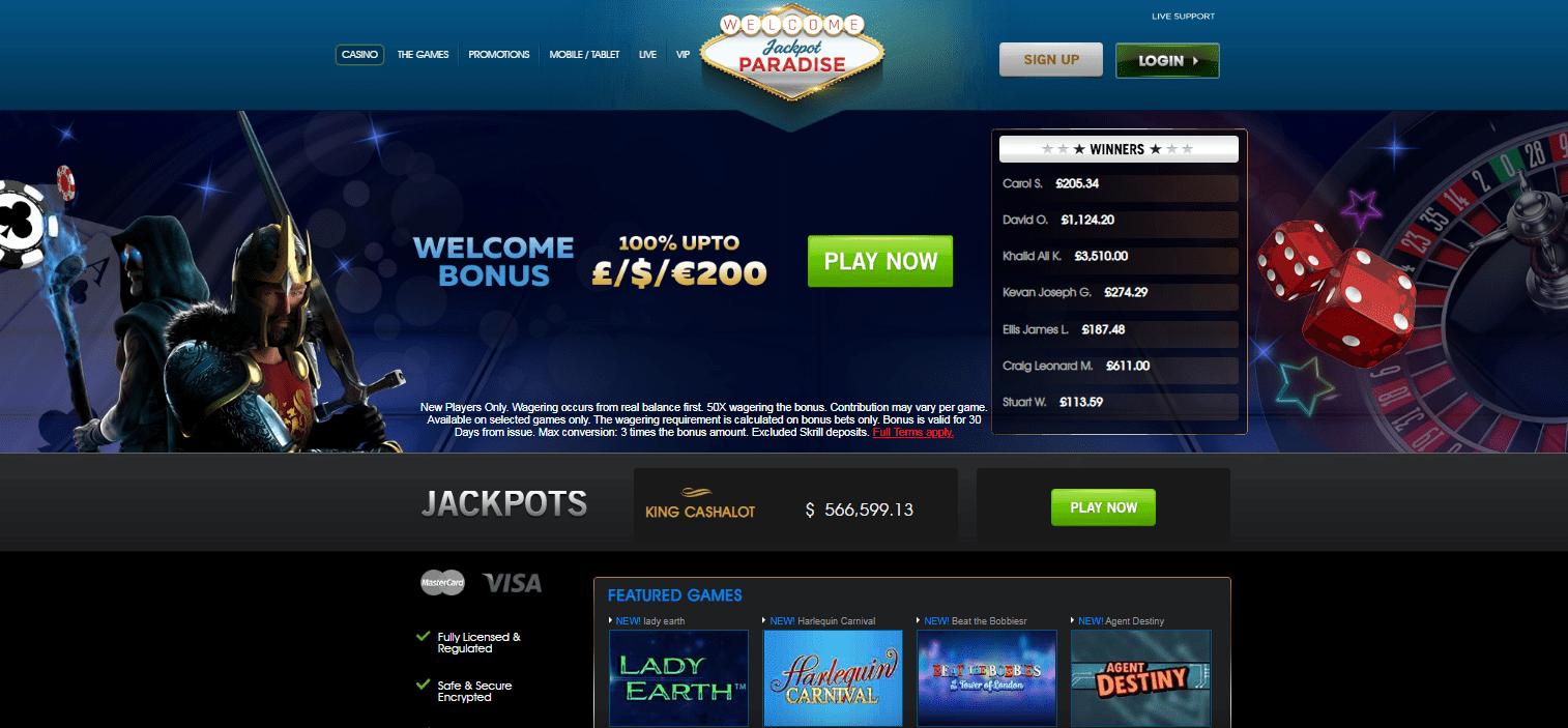 Jackpot Paradise Home Page