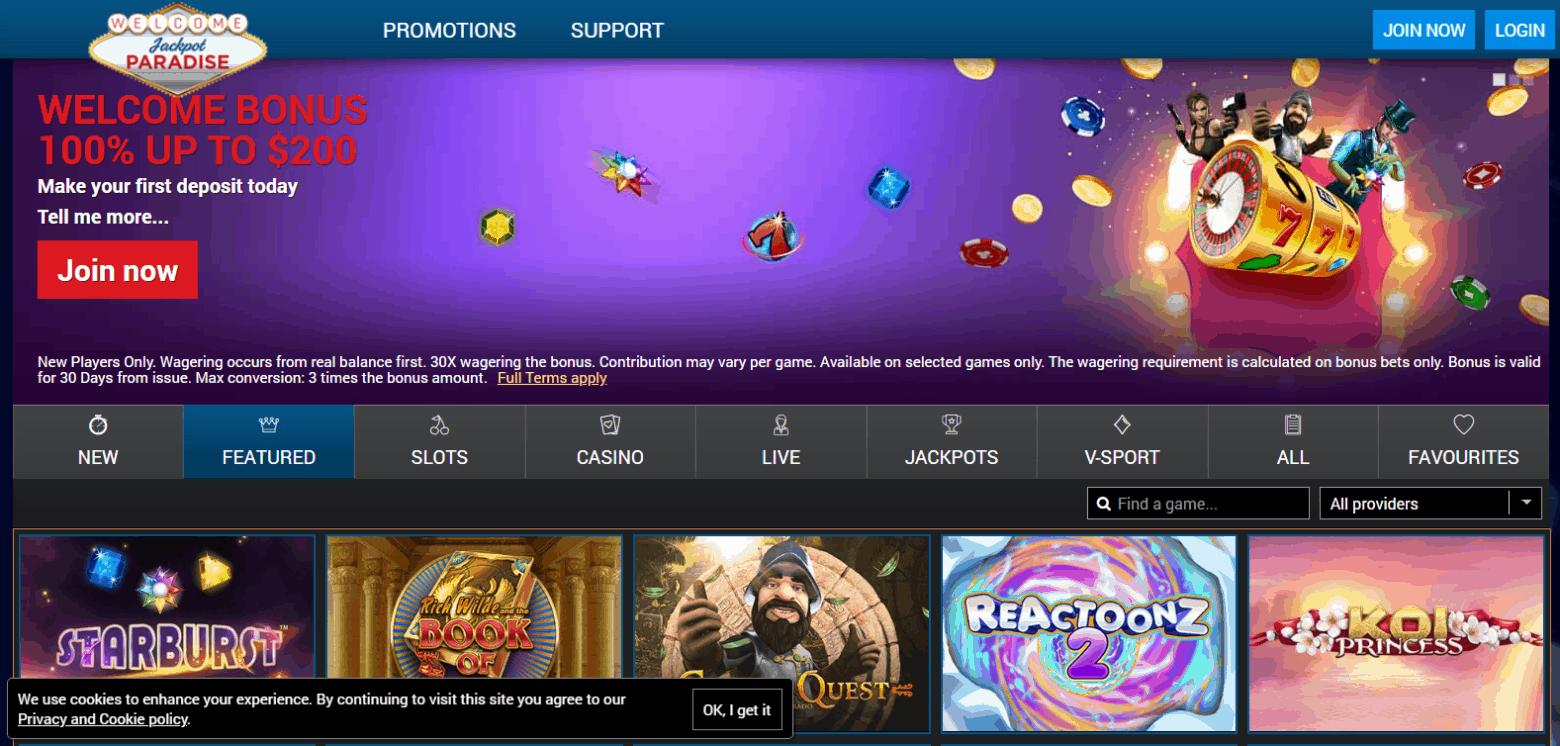 Jackpot Paradise Promotions Page