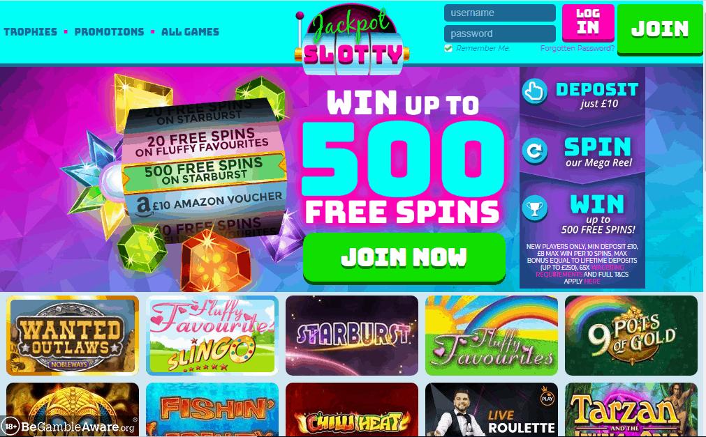 Jackpot Slotty home page