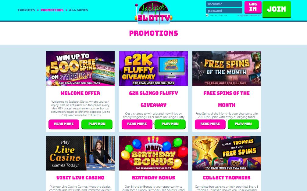 Jackpot Slotty promotions
