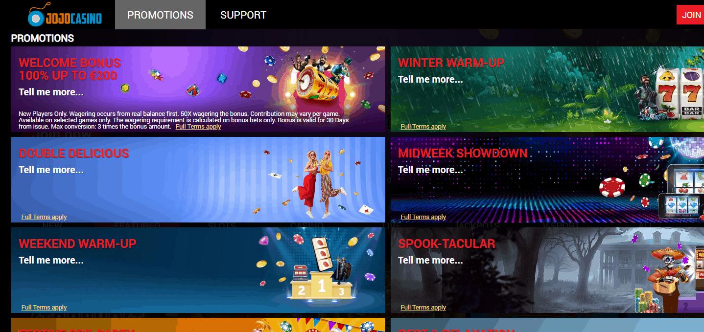 Jojo Casino Promotion Page