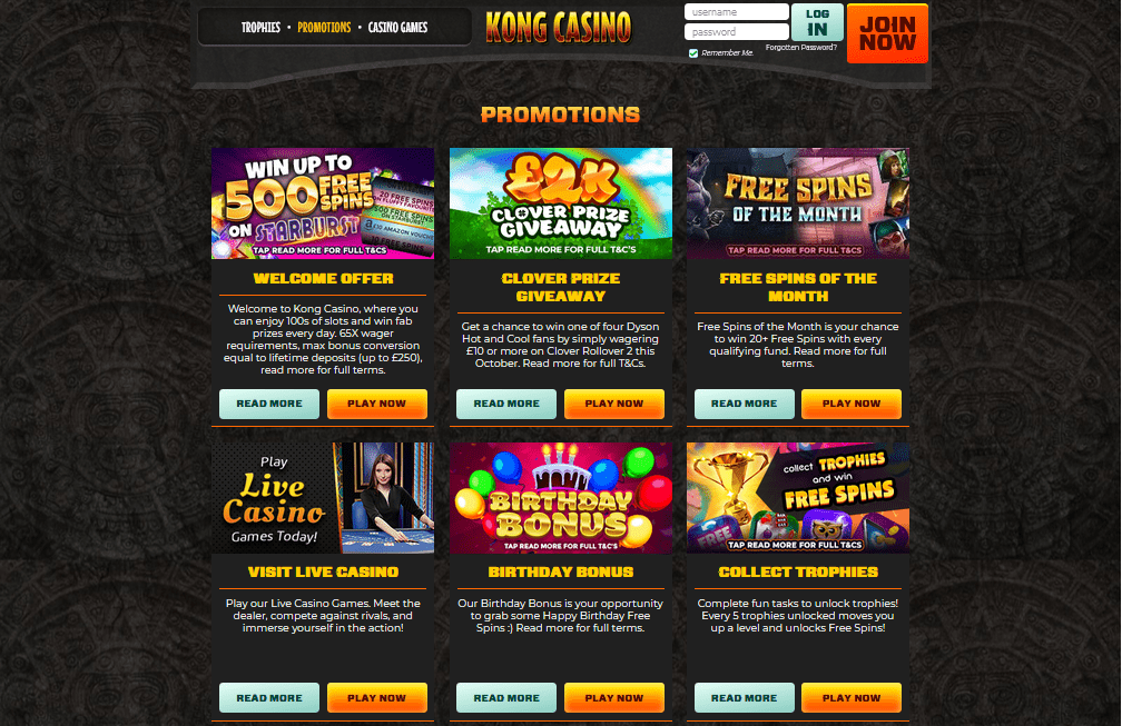 Kong Casino promotions