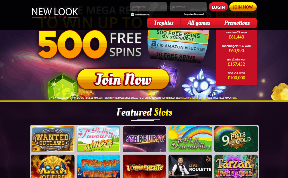 New Look Slots home page
