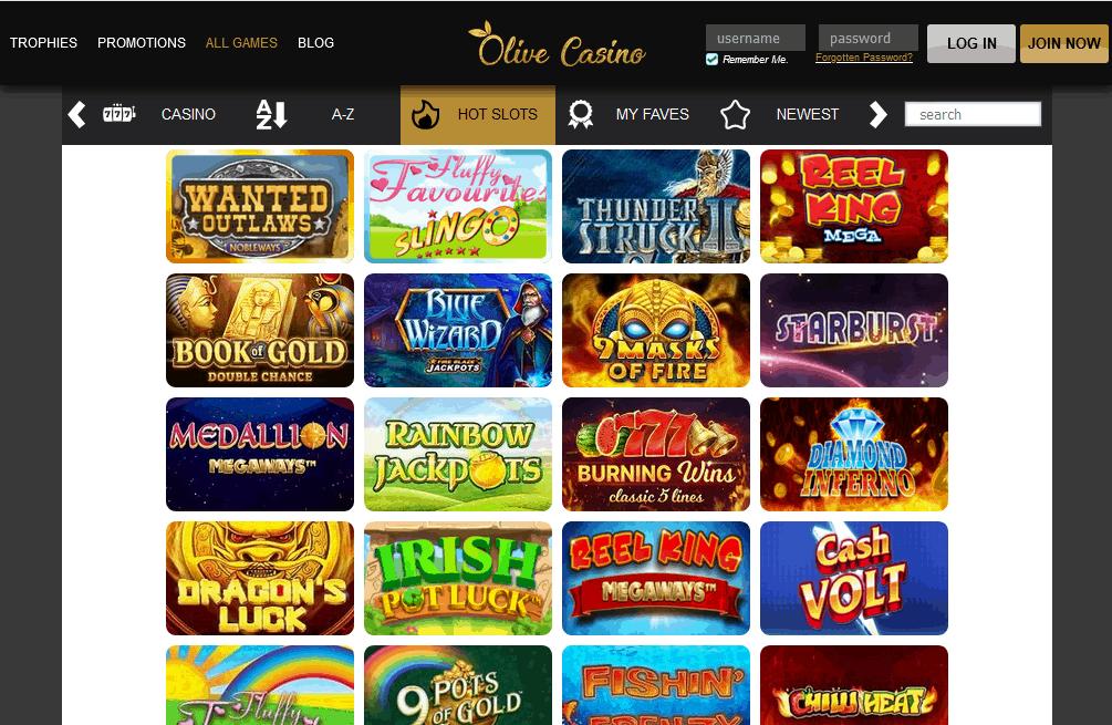 Olive Casino games
