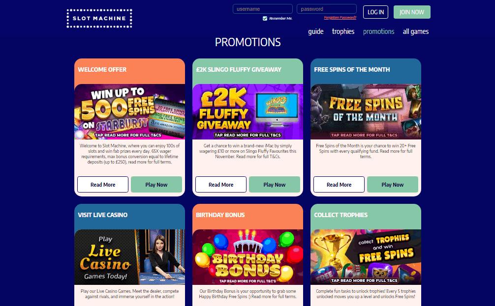 Slot Machine promotions