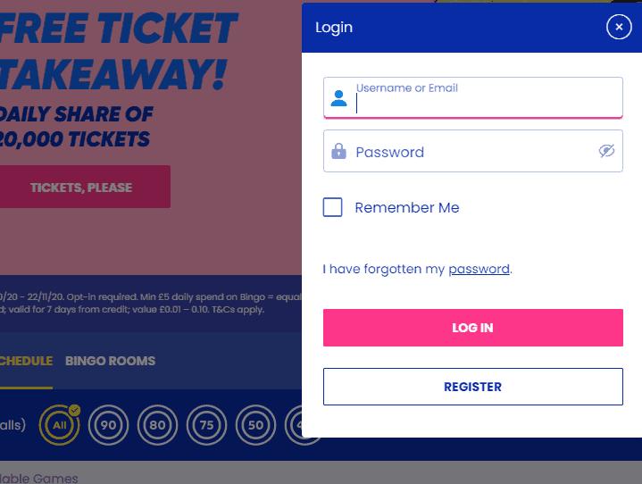 Gala Bingo login page