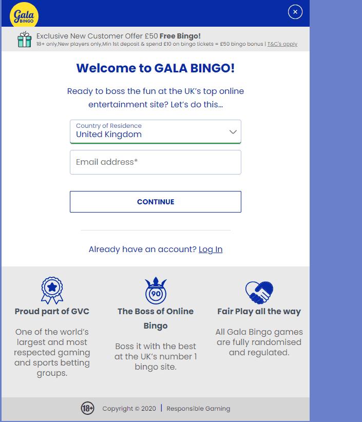 Gala Bingo sign up page