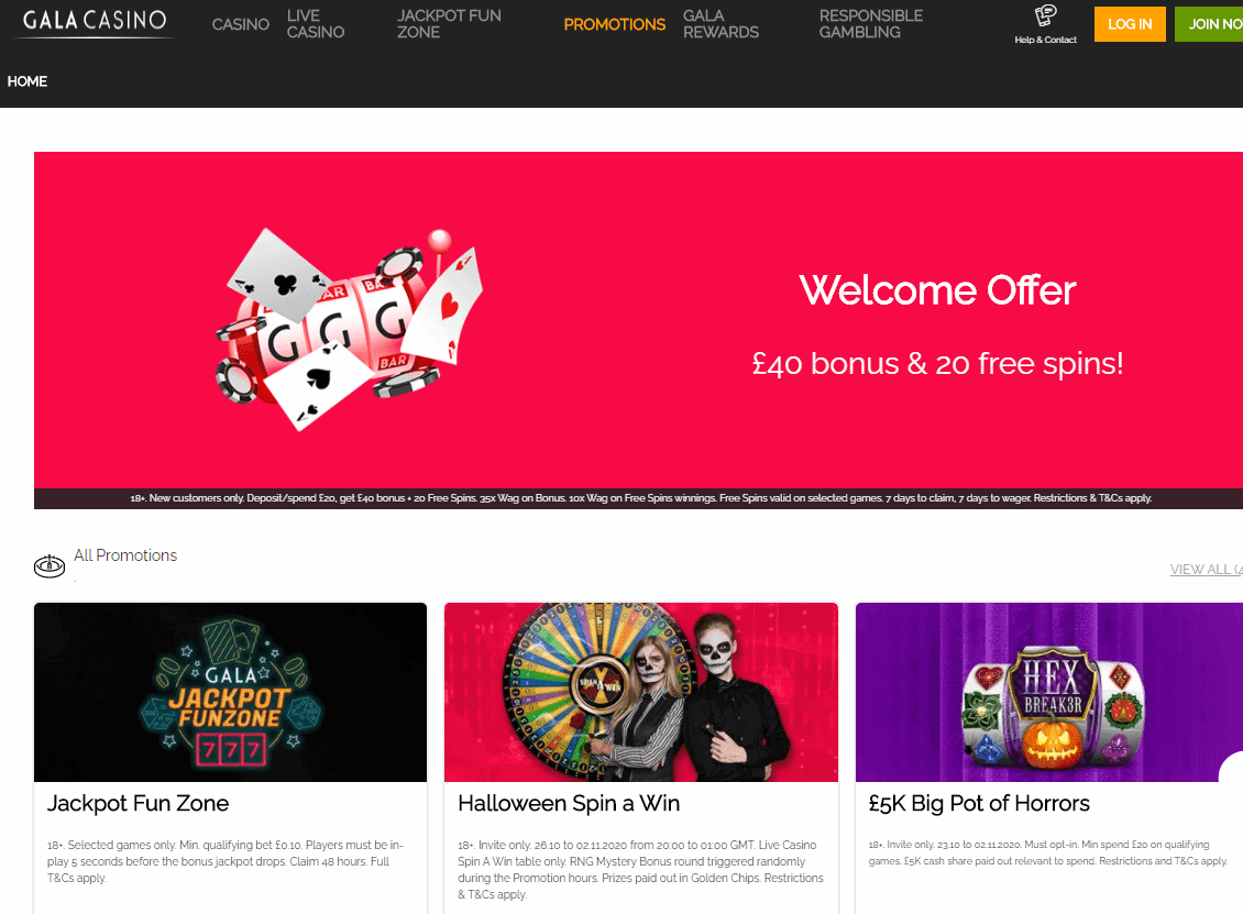 Gala Casino promotions page