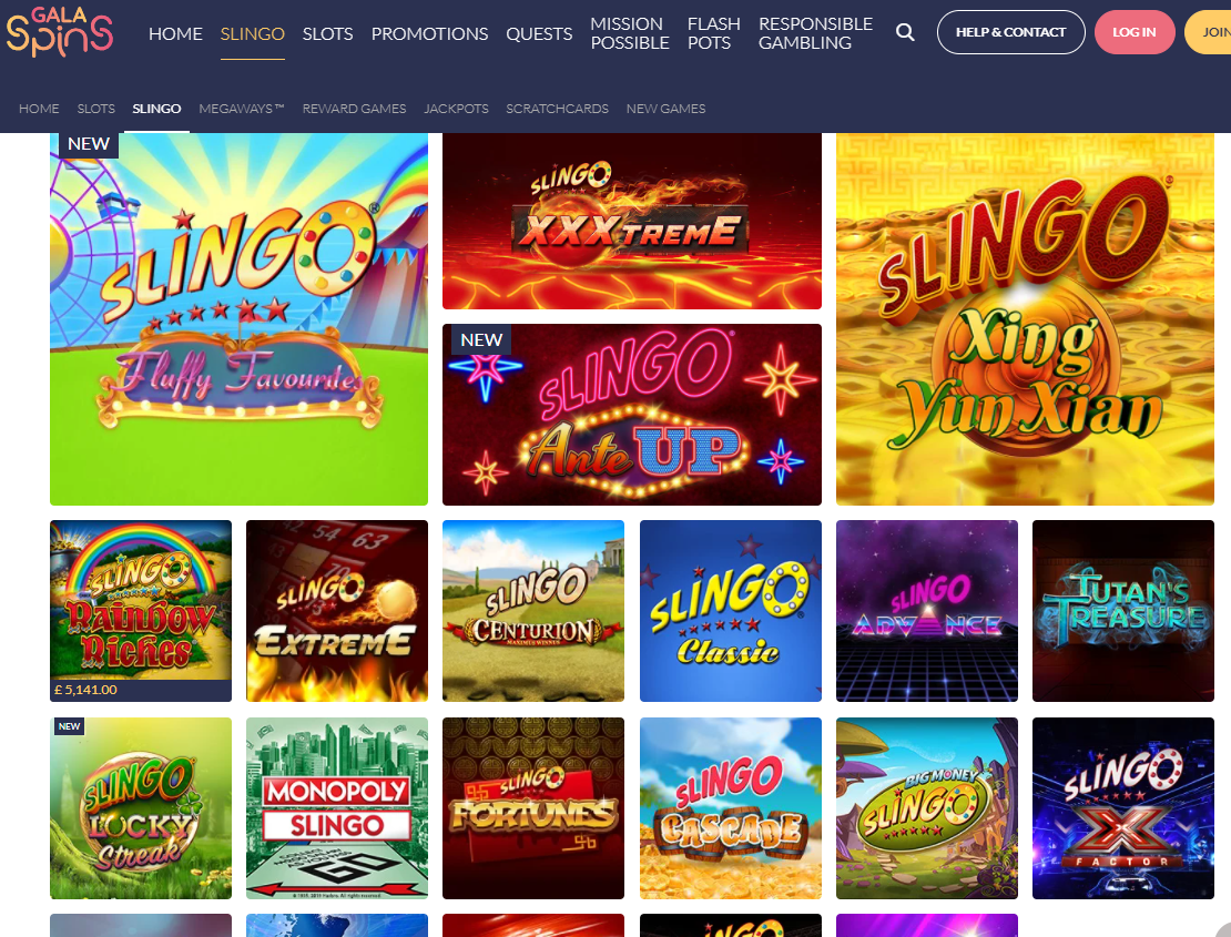gala spins games page