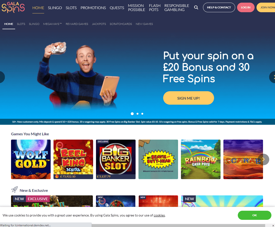 Gala Spins home page
