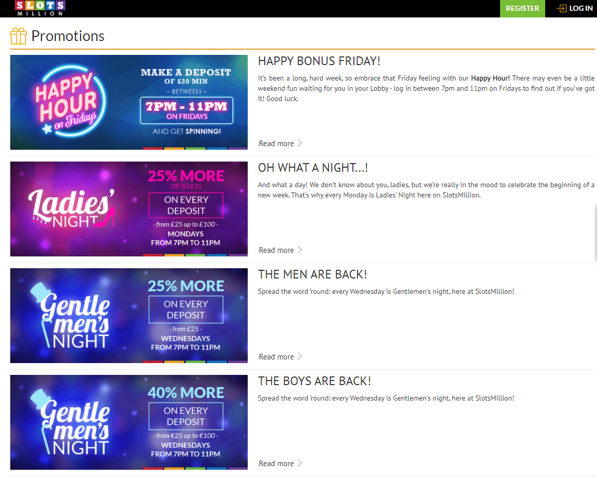 slotsmillion promotions page